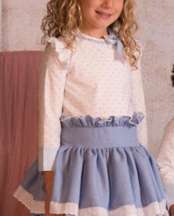 vestido niña blanco y azul