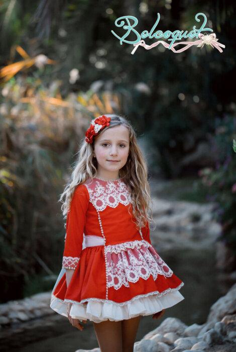 bella vestido talle bajo rojo